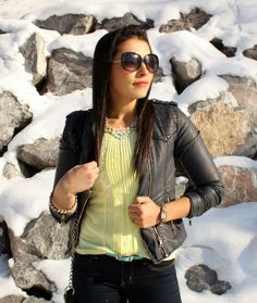 #Neon and #Leatherjacket  MY SIMPLE MODEST CHIC