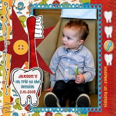Dentist Scrapbook Layouts | Page 2 of Layout Cruise Scrapbook, Travel Scrapbook Pages, Baby Boy Scrapbook, Scrapbook Page Layouts, Scrapbook Cards, Animals For Kids, Kids Playing, Digital Scrapbooking, Card Making