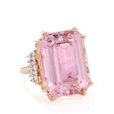 Minas Gerais Kunzite & Diamond 18k Rose Gold Lorique Ring MTGW 29.14cts