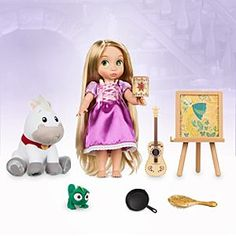 Disney Animators' Collection Singing Rapunzel Doll Gift Set - 16'' | Disney Store The tower-bound princess from <i>Tangled</i> is envisioned as a young girl yearning for the day when life begins in this Disney Animators' Collection gift set with singing feature, glowing lantern, plus plush pals Pascal and Maximus.