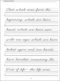Grades 2-4 Zaner Bloser cursive with scripture passages