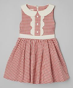 Another great find on #zulily! Strawberry Gingham A-Line Dress - Toddler by Le Bees Knees #zulilyfinds