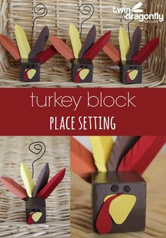 Cute turkey place settings for Thanksgiving!
