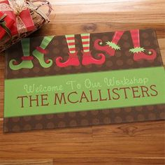@Gifts.com. Personalized Holiday Doormats - Christmas Elves Workshop. #pintowinGifts
