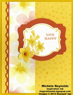 Handmade card by Michele Reynolds, Inspiration Ink, using Stampin' Up! products - Sale-A-Bration 2014 You're Lovely Set, Decorative Dots Embossing Folder, Deco Labels Collection Framelits, Watercolor Wonder Designer Series Paper, and Petite Petals Punch.