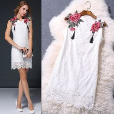 Find More Dresses Information about 2015 European Summer Style High Fashion Runway Designer Women's Flower Embroidery Slim White Party Lace Dress,High Quality Dresses from Runway Style Fashion on Aliexpress.com