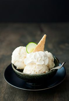 Key Lime Pie Ice Cream   Use Real Butter (it took me two tries to get the custard and I still don't know that I did it right, but my husband LOVED this ice cream. I don't even like key lime and I thought it was excellent! -kb)