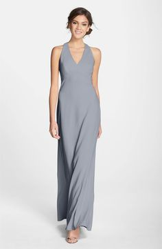 Main Image - Dessy Collection Back Cutout Crepe Gown
