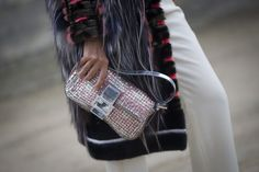 a bedazzled Fendi bag. #streetstyle accessories at Paris Fashion Week #PFW
