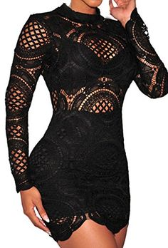 Zkess Women's Long Sleeve Lace High Neck Party Club Mini Dress - http://www.darrenblogs.com/2016/11/zkess-womens-long-sleeve-lace-high-neck-party-club-mini-dress/