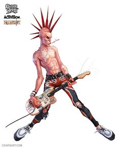 I like this picture of the character Napal from the game guitar hero because the artist has applied a lot of detail to the character to make him look and feel like a rockstar with the attention to detail of the characters mow hawk hair style and clothing. Character Concept, Concept Art, Character Design, Musica Punk, Guitar Hero, Arte Punk, Aesthetic Drawing, Rock Posters, Punk Goth