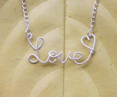 Love Wire Word Necklace With Heart  Valentine's by FabulousWire, $16.99