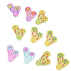 50pcs Wooden Buttons for Handmade Art-Crafts Colorful Painting Slipper Buttons 3.3*2cm *** To view further for this item, visit the image link.