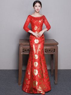 Floral Mermain Boat Neck Qipao / Cheongsam Wedding Dress
