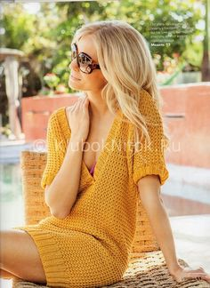 Желтое мини-платье   Вязание для женщин   Вязание спицами и крючком. Схемы вязания.