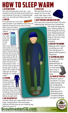 Camping Week - How To Sleep Warm Like most people, you will probably run North to escape the zombies and try to weather the cold. Sleeping warm is a science. More clothes is not always the answer. Air space that you warm is a great insulator, but too much is bad (like an air mattress). Not-Dead Undead Hypothesis (From Scoutmastercg)