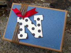 Gift wrapping idea - initial and scrapbook paper plus brown bag paper