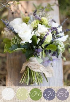 Is this lavender? I love the smell of lavender. This bouquet is very pretty, like white flowers, but would also want more blue/purple included. Natural Bouquet, Lavender Bouquet, Herb Bouquet, Lavander, Rose Bouquet, Natural Wedding Flowers, Lavender Green, Bride Flowers, Purple Wedding