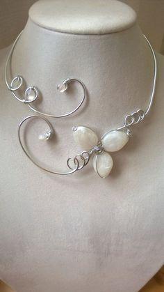 Wedding jewelry  Alu wire necklaces  White by LesBijouxLibellule