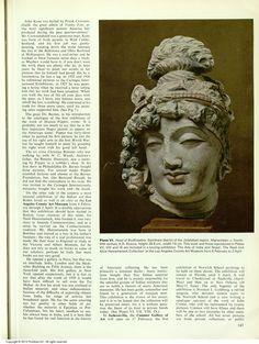 Head of #Bodhisattva, #Gandhara district of the Jellalabad region, #Afghanistan, c. 4-5c, Stucco, h. 26.6 w. 19cm, This work and those reproduced in Plates VII, VIII and IX are included in a touring exhibition 'The Arts of India and Nepal: The Nasli and Alice Heeramaneck Collection' at the Los Angeles County Art Museum from 8 Feb to 2 April 2013 Letter from U.S.A. Rembrandt Heeramaneck and Dine MAHONRI SHARP YOUNG. Apollo (Archive 1925-2005)85.60 (Feb 1, 1967) 139-146.