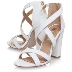 Faun White High Heel Sandals by Miss Kg ($91) ❤ liked on Polyvore featuring shoes, sandals, heels, zapatos, high heels sandals, white high heel shoes, white shoes, miss kg and white colour shoes
