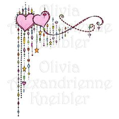 Dangles 3 Hearts Corner is an original watercolor image with a transparent background. Hearts and dangles galore along with stars and dots make this an enchanting image Doodle Wall, Doodle Art Letters, Doodle Art Drawing, Zen Doodle, Doodles Zentangles, Zentangle Patterns, Love Heart Drawing, Hand Lettering Alphabet, Quilling Paper Craft