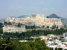 -Grèce (Athènes)  - Ve siècle avant Jésus-Christ  -Temples construits sur les hauteurs de la ville. Le plus grand d'entre eux est le Parthénon.