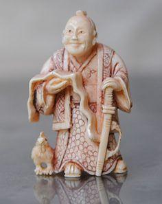 Online veilinghuis Catawiki: Antieke ivoren netsuke Wijsheid  – Japan –  Meiji periode, ca. 1900