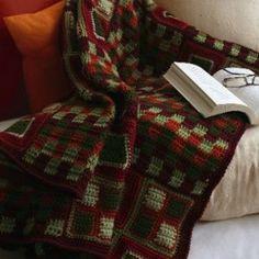 Cozy Yuletide Squares Blanket | AllFreeCrochetAfghanPatterns.com