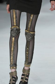 Black Gold Silver See through Leggins. Fishnet Leggings, Tight Leggings, Leggings Style, Fashion Moda, Runway Fashion, Womens Fashion, Metal Fashion, High Fashion, Estilo Rock