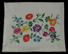 New Hand Embroidered White Hungarian Kalocsa by TheMightyCat