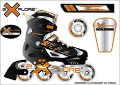 Inline skates designDone in Adobe illustrator Inline Skating, Golf Clubs, Skate, Bike, Gym, Sports, Design, Bicycle, Hs Sports
