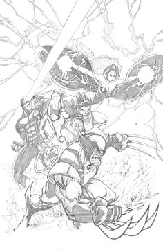 X-MEN: Cyclops, Storm, Nightcrawler & Wolverine by Gerardo Sandoval! (Marvel comics)