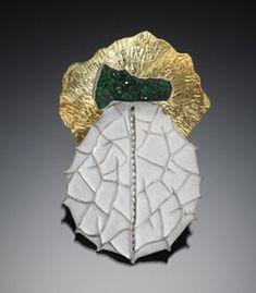 "Nancy Mēgan Corwin: Brooch in sterling silver, copper, drusy quartz, gold leaf, pearls, fine silver, and 22k gold/sterling bi-metal. 4 x 2.5"""