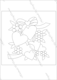 T T multi hearts and flowers Hand Embroidery Patterns Free, Embroidery Hearts, Hand Applique, Applique Embroidery Designs, Applique Patterns, Vintage Embroidery, Applique Quilts, Mug Rug Patterns, Quilt Patterns