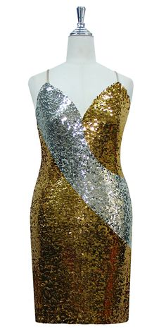 219756a5ef5 Short patterned dress in silver and gold sequin spangles fabric in a  classic cut. Gold. SequinQueen.com