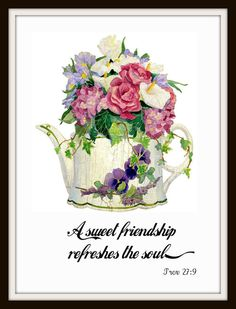 "Vintage Art Print ""A Sweet Friendship"", Wall Decor, 8 x 10"" Unframed Printed Art Image, Scripture Print, Motivational Quote"
