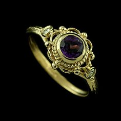 Victorian Style Diamonds Amethyst Engagement Ring by OroSpot, $429.00