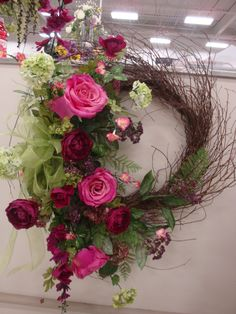 English garden wreath designed by Christine Crowley for Michaels Willowbrook, IL