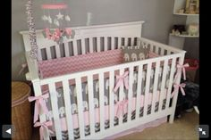 Pink and grey elephant nursery bedding set