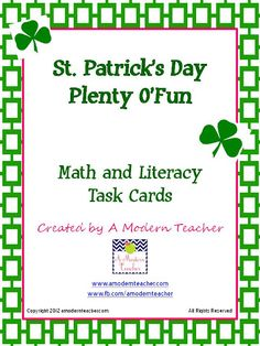 St. Patrick's Day Math and Literacy Task Cards - Re-pinned by @PediaStaff – Please Visit http://ht.ly/63sNt for all our pediatric therapy pins