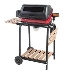 Americana Satin Black Electric Grill at Lowe's. This Americana electric cart grill with two folding, composite-wood side tables, shelf and rotisserie comes with more features. With a three-position Best Electric Grill, Outdoor Electric Grill, Electric Grills, Best Portable Grill, Rotisserie Grill, Best Charcoal Grill, Mesquite Wood, Outdoor Cooking, Side Tables