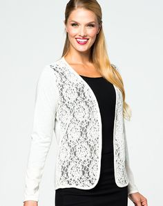 Liz Cardigan: Available in Natural. Light weight sweater with floral lace front panels