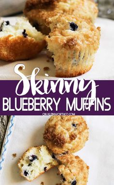 Start your day with a lighter version of the classic. Skinny Blueberry Muffins are easy to make & delicious too making them the perfect breakfast! Skinny Blueberry Muffins, Blueberry Crumble Bars, Lemon Poppyseed Muffins, Blue Berry Muffins, Blueberry Recipes, Lemon Desserts, Healthy Dessert Recipes, Breakfast Recipes, Healthy Food