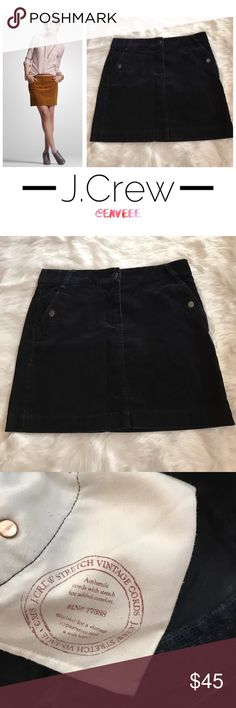 J. Crew Mini Corduroy Skirt, Like New * Pristine condition; Like New * J. Crew Corduroy Mini Skirt in Navy Blue * Figure flattering. Work appropriate. * Size 8 * Can be dressed casually with flats/sandals.  * Can be dressed up with heels and big curly hair. Perfect for night-outs and dates!  * Retails for $89, so grab yourself a bargain! * From smoke/pet-free home * Please feel free to submit offers; I am always open to price negotiation ❗️ J. Crew Skirts