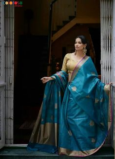 Teal Tussar Benarasi handloom saree from Coloroso Weaves