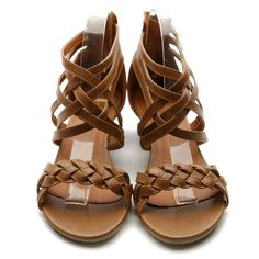 Ollio Womens Shoes Gladiator Flats Braided Wedge Multi Colored Sandals: Shoes