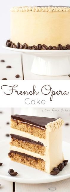 Opera Cake -French Opera Cake - Coffee Layer Cake A modern take on a French classic, this decadent Opera cake is rich, chocolatey, and packed with espresso flavour. Frosting Recipes, Cupcake Recipes, Baking Recipes, Cupcake Cakes, Dessert Recipes, Layer Cake Recipes, Pastry Recipes, Cupcake Ideas, Just Desserts