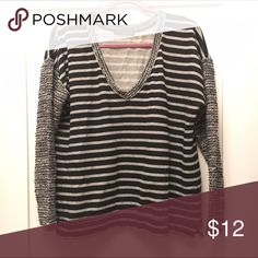 Sanctuary Striped Tweed Sleeve Sweater Sleeves are tweed, remainder is cotton sweatshirt fabric BUNDLE & SAVE!!!! PRICES ARE NEGOTIABLE! Sanctuary Sweaters Crew & Scoop Necks