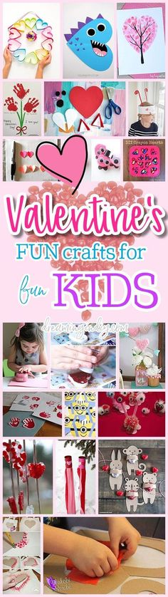 Valentines Day Kids Paper Crafts Art Projects and Activities - Easy Heart Love Pink and Red tutorials for your budding little artists via Dreaming in DIY #valentinescraftsforkids #valentinespartycrafts #valentinesparty #kidsvalentinecrafts #valentinecrafts #valentinesday #valentines #kidscrafts #easyvalentinescrafts